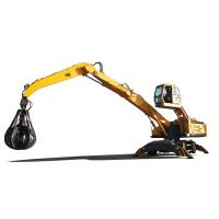 China 154kw Rated Power Hydraulic Material Handler With Solid Tire And Five Peel Grab on sale