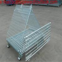 China Metal Stacking Wire Mesh Container/Basket/Cage/galvanized wire mesh container storage cage warehouse cage/wheels storage on sale