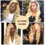1b / 613 Blonde 100% Ombre Peruvian Hair Bundles / Ombre Blonde Hair Weave No Shedding Manufactures