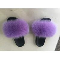 Dyed Color Ladies Fluffy Slippers For Summer , Spring Cute Womens Slippers  Manufactures