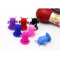 Blue Mini Robot Silicone Mobile Phone Holder For MP3 IPAD PSP Samsung Iphone With Debossed Logo Manufactures