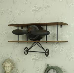 Retro Industrial Vintage Aeroplane Wall Shelf Floating Shelf for Bar Cafe Coffee Wall Decor Manufactures