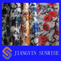 Environmental Knitted Microfiber Synthetic Leather With Flowers Printing Manufactures