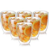Durable Borosilicate  Heat Resistant Crystal Double Wall Drinking Glasses Cup Manufactures