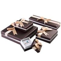 China Stylish Design Cardboard Jewelry Gift Boxes With Bow Velvet Foam Insert on sale