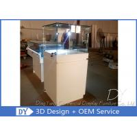 Wood Square Glass Jewelry Display Case / Pedestal Showcase With Cabinet Locks Manufactures
