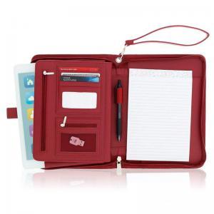 China Women's Leather Portfolio Folder , Red Faux Leather Business Folio Binder Organizer on sale