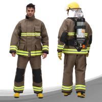 China Para Aramid Fireman Suit Custom Color FR Zipper Front Closed With Tool Packet on sale