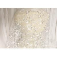 White Floral Embroidery Corded Lace Fabric With Beads And Sequins For Wedding Dress Manufactures