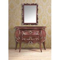 China Elegant Artificial Antique Furniture Brown Console Table With Square Mirror on sale