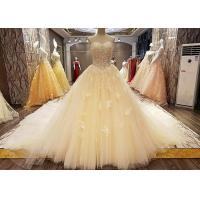 Comfortable Strapless Ladies Bridal Gown Cream Princess Long Tulle Tail Manufactures