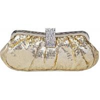 ladies clutch bag, sequinned evening bag with metal frame and circle G20151 Manufactures