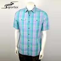 Buy cheap Breathable Mens Short Sleeve Shirts 100 Cotton Plain Dyed Technics from wholesalers