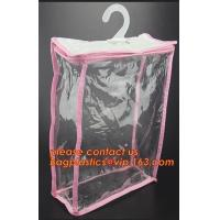 China manufacture clear plastic pvc hanger bag with snap,Eco Friendly Transparent Foldable Coat Plastic Stereo Hanging Hook Ha on sale