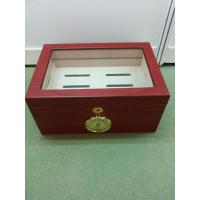 China Red Painting Window Wooden Cigar Gift Box Handmade Full Color on sale