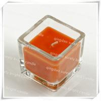 China aroma square glass candle on sale