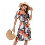 New  fashion women's v-neck floral temperament dress Manufactures