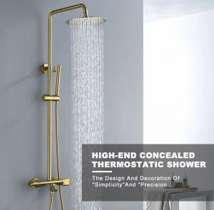 China Gold Exposed 40degree Bath Shower Faucet Set With Hand Shower on sale