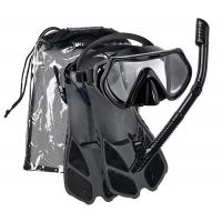 Adjustable Flippers Double Lens Silicone Snorkel Mask Set With Dry Top Tube Manufactures