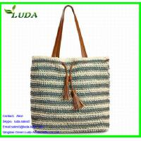 Crochet Paper String Woven Tote Bags w/PU Leather Manufactures