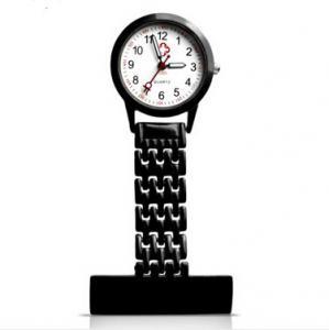 China Fancy Black Stainess Steel Quartz Nurse Fob Watch / Gel With logo Print on sale