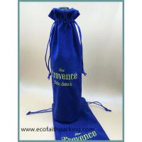Wine Single bottle  Velvet wine pouches bags with embroidery logo Manufactures