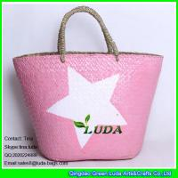 China LUDA frech straw bag pink color painted star seagrass straw bag on sale