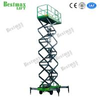 16 Meters Hydraulic Lift Platform Scissor Lift 300Kg For Working At Height In Green Manufactures