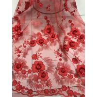 Red 3D Flower Embroidered Tulle Lace Fabric / Wedding Dresses Sequins Beaded Lace Manufactures