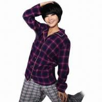 Sleepwear with Flannel Fabric for Nightwear, Homedress and Sleep Shirt, Customized Designs Accepted Manufactures