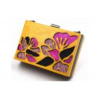 Gold Color Wooden Evening Clutch Bags / Handbag For Women With Flower Manufactures