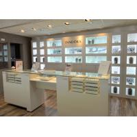 Customized Logo High Wall Display Cabinets / Jewelry Display Cases Beige Color Manufactures