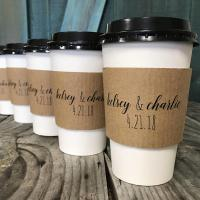 Wrapped Branded Coffee Cup Sleeves Food Grade Custom Size With Flexo Printing Manufactures