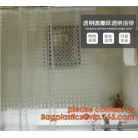 TRANSPARENT CIRCLE LINES, TRANSPARENT , polyester shower curtain and matching mat waterproof custom bath bathroom shower Manufactures