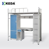 China 192cm Long 180cm High Steel Bunk Bed With Desk on sale