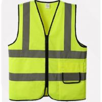 Reflective Anti Static Safety Vest With Zipper Closure Heavy Duty Lime Color Manufactures