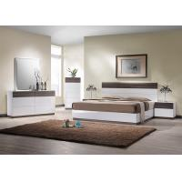 E1 Panel bedroom set / White High Gloss Bedroom Furniutre with Walnut Melamine Manufactures