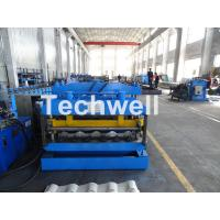 Metal Glazed Wave Tile Roll Forming Machine With Welded Wall Plate Frame and Chain Drive Manufactures