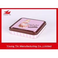 China Empty Square Chocolate Packaging Tin Boxes Case With Artwork CMYK / PMS Printing on sale
