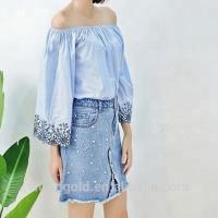Custom Women Long Wide Sleeves Off Shoulder Blouse With Embroidery Decor Manufactures