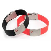 Size Adjustable Silicone Medical ID Bracelets Waterproof With SS Plate Tag Manufactures