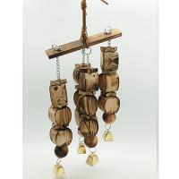 natural bird toys with carbonized wooden beads and apple shape blcok for amazon Manufactures