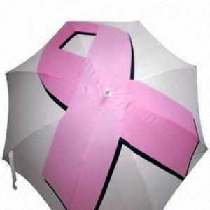 Single Layer Golf Umbrella with White Fiberglass Ribs, Shaft, Pongee Fabric and White EVA Handle Manufactures