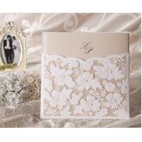 China Champagne Wedding Invitation Lace Floral Wedding Card Inner sheet printed and customized on sale