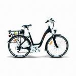 Aluminum-alloy Frame E-bike with Lithium Battery (36V/10Ah), Front/Rear V-brake, Shimano 6 Speeds Manufactures
