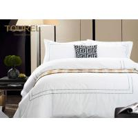 Comfortable White Jacquard Hotel Bedding Duvet Covers Luxury King Size Manufactures