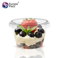 China New products eco friendly transparent 120ml PET pudding cup with flat lid on sale