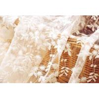 White Flower Embroidered Nylon Mesh Lace Fabric , Wedding Bridal Dress Lace Fabric Manufactures