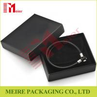 China Luxury glossy black Bracelet small cardboard jewelry boxes wholesale with black pouch for man on sale