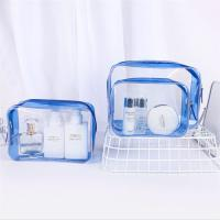 Personalized PVC Cosmetic Bag , Blue Clear Plastic Cosmetic Zipper Bags Manufactures